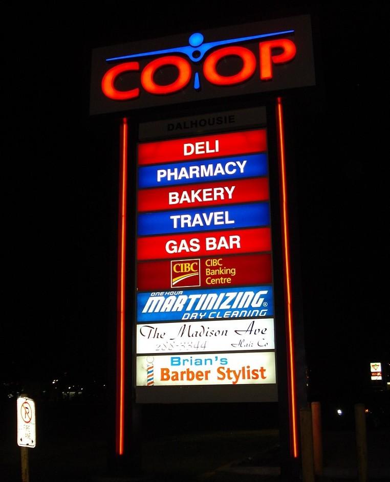 CO-OP Pylon Sign at Night