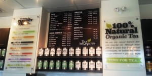 colourful and friendly menu board for a tea business