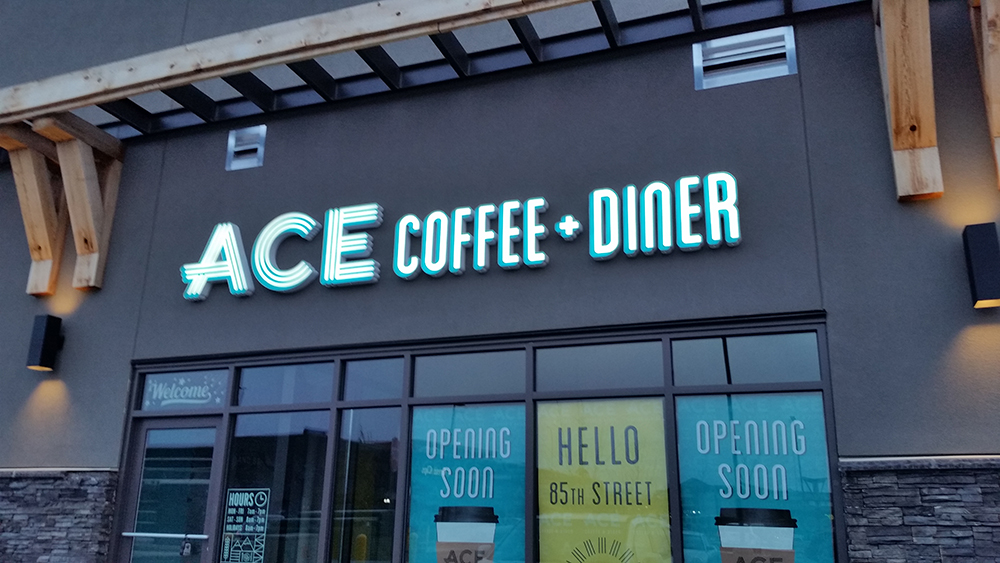 Ace Coffee and Diner restaurant sign illuminated channel letters