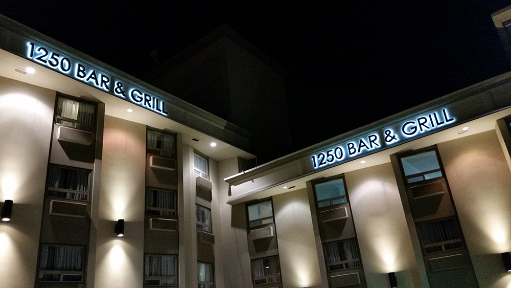1250 Bar and Grill restaurant sign illuminated channel letters