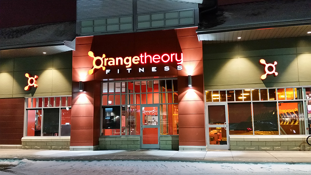 Orange Theory LED illuminated 3D channel letters sign