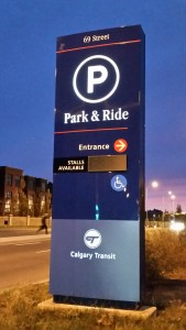 Illuminated pylon sign for calgary transit park and ride