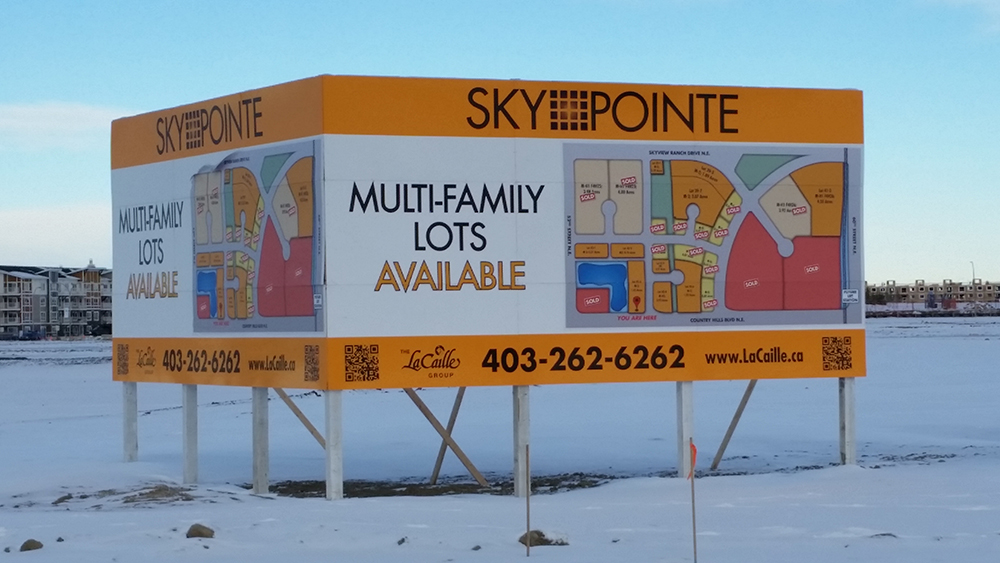 Sky Pointe construction sign for a new development