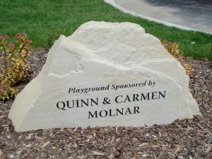 engraved stone commemorative plaque for playground sponsors