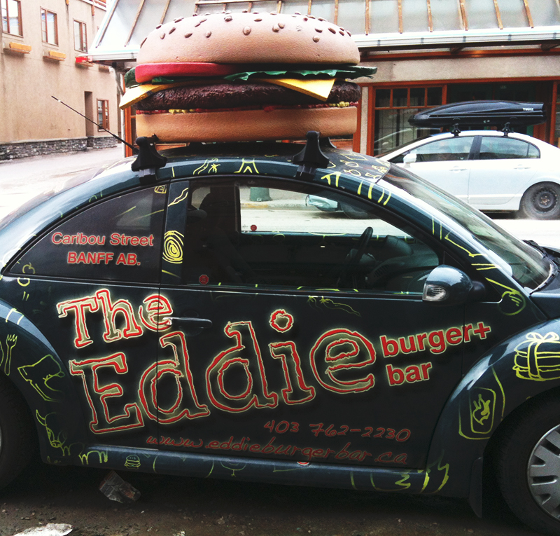 fun burger-themed vinyl vehicle wrap