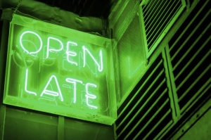 green neon open late sign