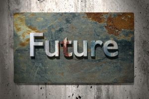 3d rendering of future word on a rusty surface