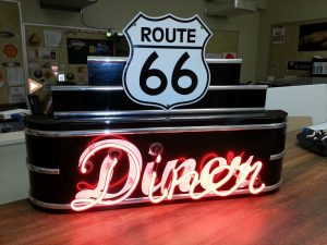 Retro neon sign design for a Route 66 Diner